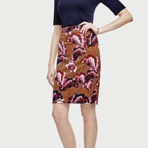 Ann Taylor Fanned Floral Pencil Skirt Size 12